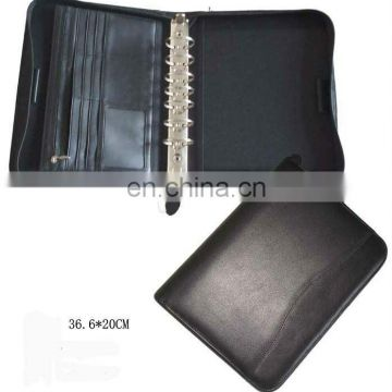 High Quality Briefcases Leather Spiral Portfolio With Pen Holder