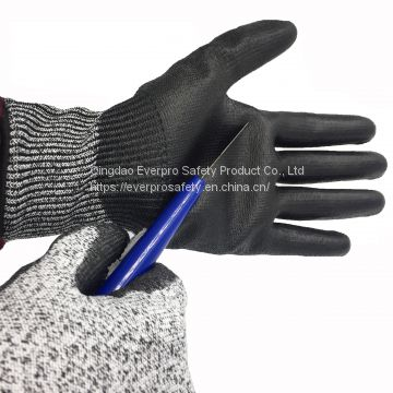 Anti Cut Level C 13G HPPE Liner PU Dipped Cut Resistant Safety Gloves with EN388 4X43C
