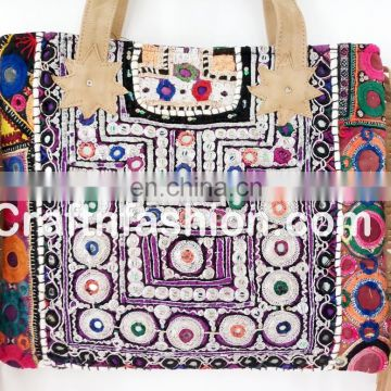Exclusive fashionable women's Leather Fringe Tote Bag- Vintage banjara gypsy tribal Leather Fringe bag- Ethnic Boho Leather bag