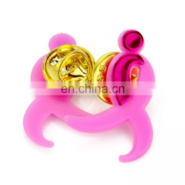 Design your own plastic pvc classy wedding pink ribbon lapel pin wholesale
