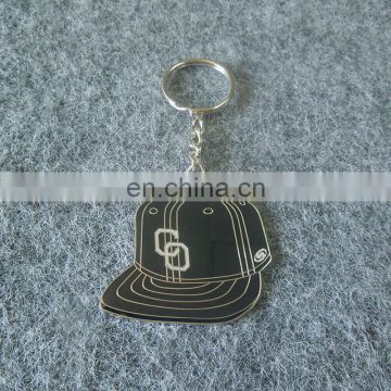 custom cute hat shaped cap logo key chain ring