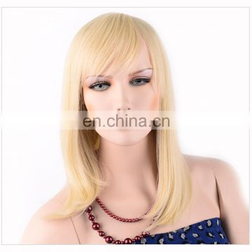 wholesale price natural straight blonde color synthetic hair lace front wig