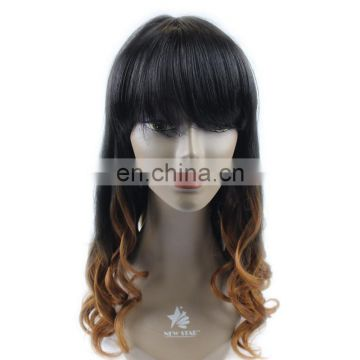 Wholesale High Quality Cheap Heated Resistant Fiber Ombre Red Natural Synthetic Hair Two Tone Purple Color Cosplay Hair Wig