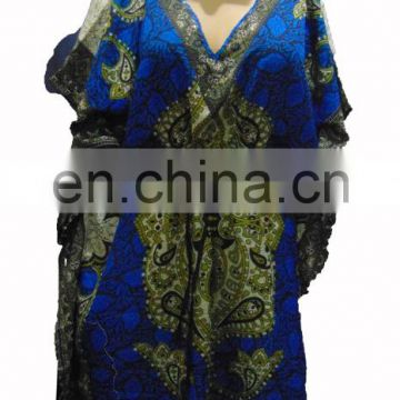 "52"" KAFTAN TUNIC PONCHO MULTICOLOR WITH EMBROIDERY"