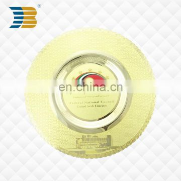 high quality shiny gold metal custom souvenir plate