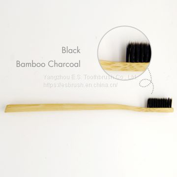 natural bamboo biodegradable adult bamboo toothbrush with soft charcoal bristles