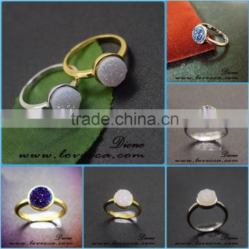 Small MOQ Fashion Jewelry With 925 Sterling Silver Natural Agate Druzy Ring, have in stock