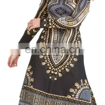 DASHIKI DRESS, long sleeve African Angelina print dress, tribal boho Africa xs petite dress, bohemian winter hippy hippie dress
