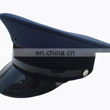 navy blue plain military officer peak cap