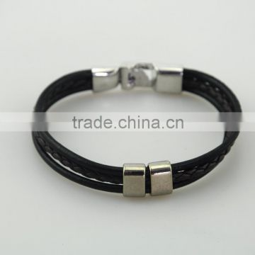 Factory Men Bangle Metal Black Leather Rope Bracelet