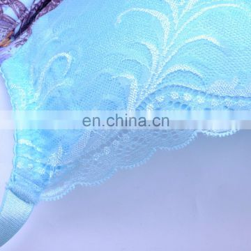 Top Quality China Transparent Lace Flower Split Stylish Push Up Sexy Bra