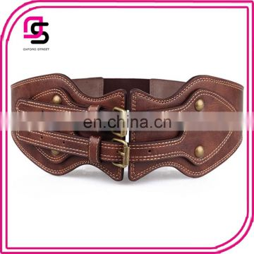 China factory wholesale new fashion women ladies double buckle elastic corset belt