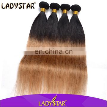 Cheap human hair extension/reputable hair brand Ladystar ombre hair extension