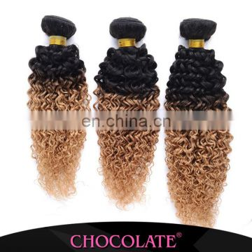 Chocolate hair Kinky Curly Ombre Color 1B/27 Soft Bouncy curl Brazilian Hair 100% Human Hair Weft