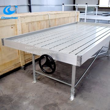 Hot sale metal rolling bench ebb flow greenhouse rolling table