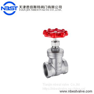 SS304 Standard Stainless Steel Female Threaded 2 inch Gate Valve Low Pressure