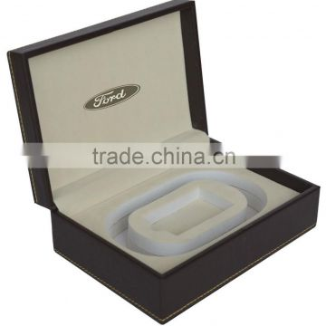 Leather Belt gift box for auto shop promotion, car dealer free gift box with Ford Logo, all car logo customized