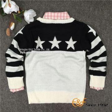 Black-white Stars Jacquard Pullover Sweater