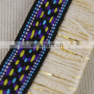 Designer jacquard ethnic fringes trim with gold lurex