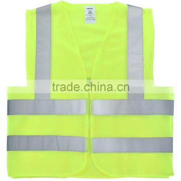 High Visibility Neon Green Safety Vest with Reflective Strips and Mesh Fabric and Pockets, ANSI/ISEA Standard | Size L