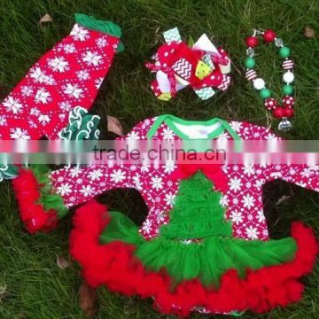 girls Christmas snowflake tree baby romper with matching necklace,leg warmer and hair bow set