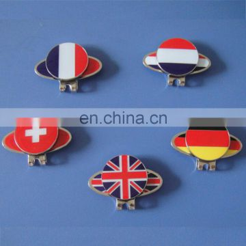 5 countries France/Germany/Switzerland/UK/Netherland flag golf hat clip and ball marker
