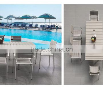 All weather Garden grey composite wood 8 seat patio extendable dining outdoor furniture set