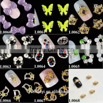 "Letter shaped nail jewelry ""D"" shape with bowknot 3d metal nail art customized jewelry L0066"