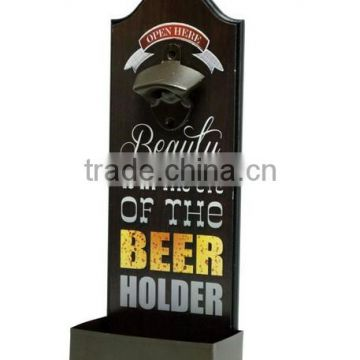Wall mounted beer bottle openers with cap catcher