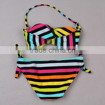 Fashion New Girls Swimsuit Colorful Stripe Two Piece Girls Swimwear Cute Children Swimming Suit Biquini Infantil SR40417-14