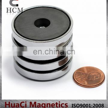 "15 LB Holding Power Ceramic Cup Magnet 1.4"" Magnetic Round Base"