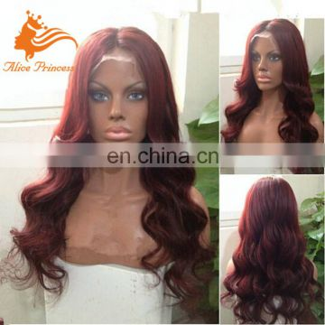 Body Wave Black Purple Ombre Color Brazilian Human Hair Wig, Ombre full lace hair wig