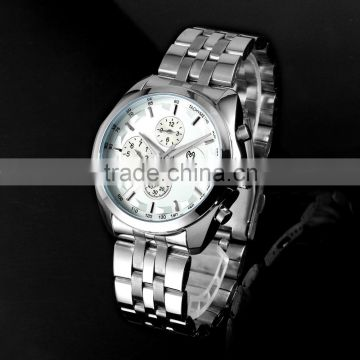 2016 Latest Fashion Business Mens Wristwatch Stainless Steel Luxury Watch with Calendar WM439