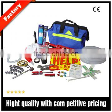 car tool kit for roadside emergency packed in heavy duty bag with reflective triangle stripe