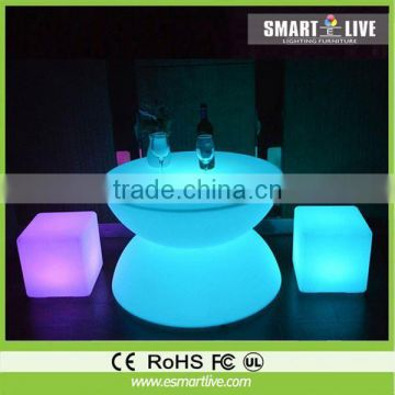led plastic cafe chair/plastic cube furniture/led chairs and tables for bars
