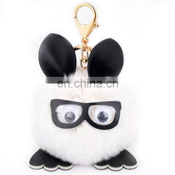 rabbit fur pom pom owl lady bag purse keychain