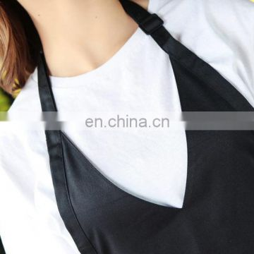 "Black apron ""V"" neck sigle color apron"