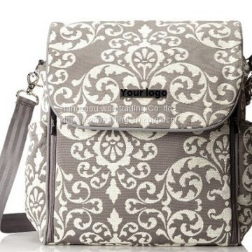 full printed diaper backpack with tote handle