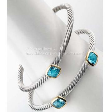 Sterling Silver DY Inspired Designer One Two-Station Blue Topaz Bangles