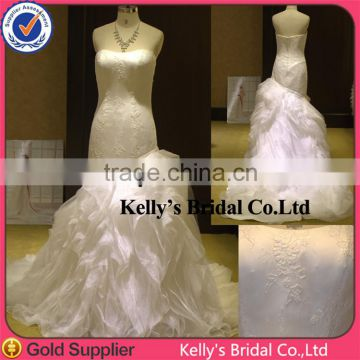Fashion style strapless A-line ruched ruffle lace wedding dresses wedding decoration 2013