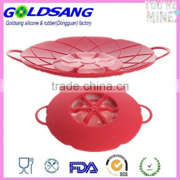 "Prevents Mess 10"" Silicone Boil Over Spill Guard Pot Pan Lid Cover"