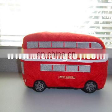 custom cartoon red bus plush toy promotion