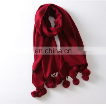 2016 wholesale New design winter plain rabbit fur ball wool spinning scarf