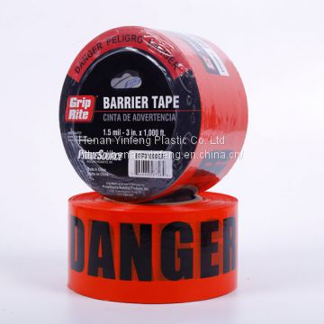 high quality plastic caution tape red barricade tape PE warning tape