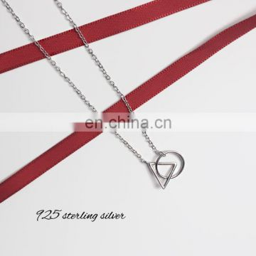 S925 Triangle Round Geometric Clavicle Necklace