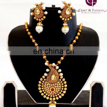 Rajwada Style antique one gram gold plated Pendant Set-Pakistani Bridal Jewelry-Oversize pendant Set Wholesale