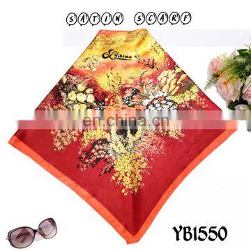 morden Ladies Satin Fashion Scarf, Good Texture, Polyester Printedsquare Hijab made in factory hot sell European new style