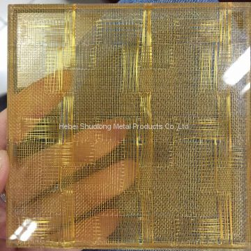 Shuolong Glass Laminated Mesh XY-R-06 Copper Architectural Woven Fabrics