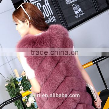 High quality Winter Fashion Women Real Fox Fur Vest Lady Genuine Leather Fur Coat Warm Vest Fox and Rabbit Fur Overcoat gilet
