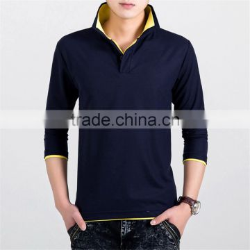 new fashion solid color mens polo shirt, long sleeve turn down collar polo shirt, slim fit quick dry polo shirt for men